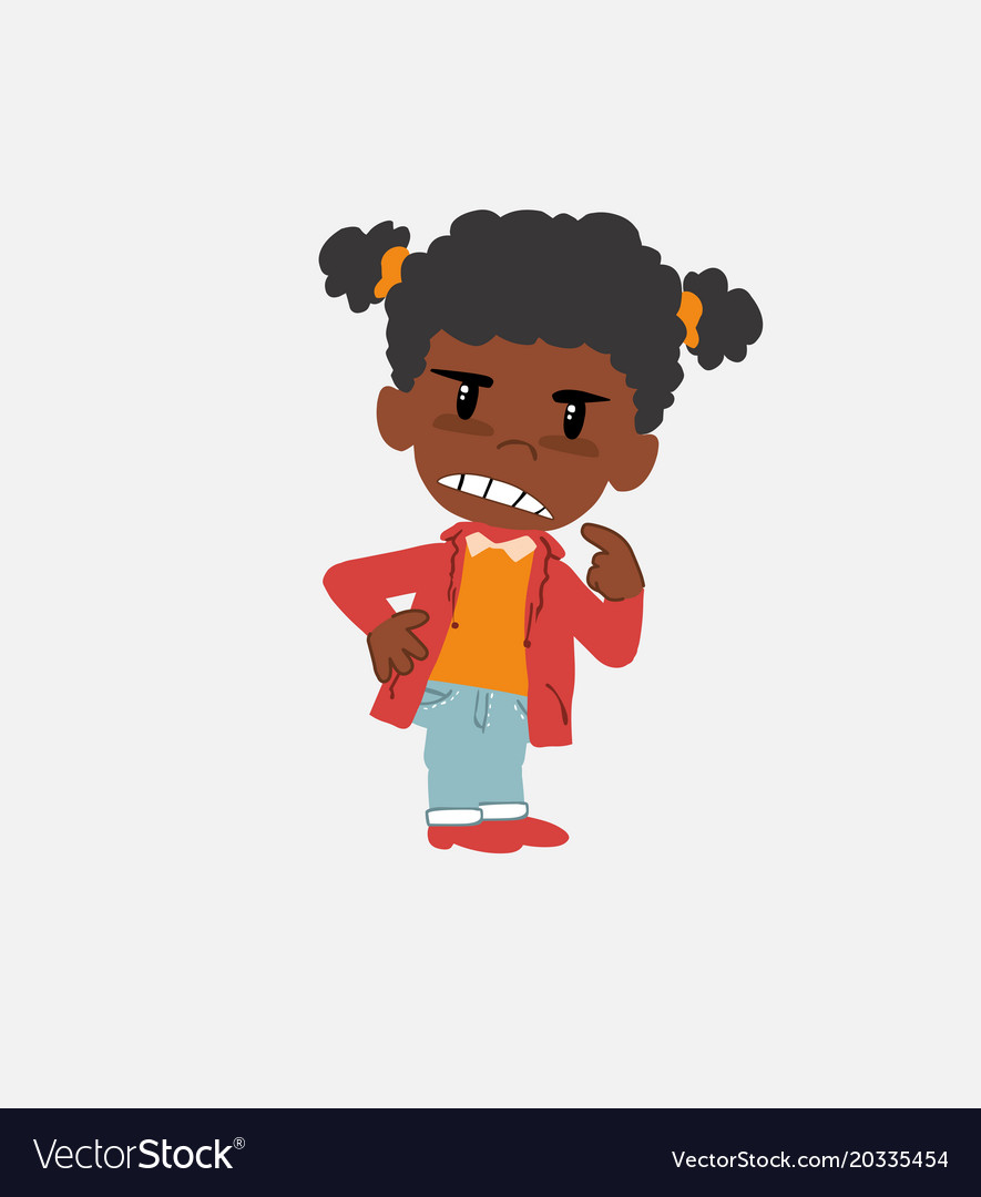 Black girl ponders something angry vector image.