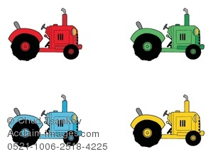 Clipart Image of Four Colorful Farming Tractors.