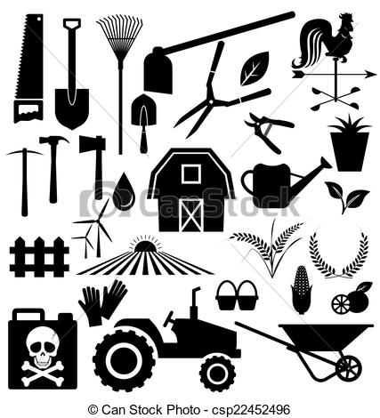 EPS Vectors of Agricultural equipment and farm set vector.