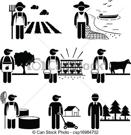 Vector Clipart of Agriculture Plantation Farming Job.