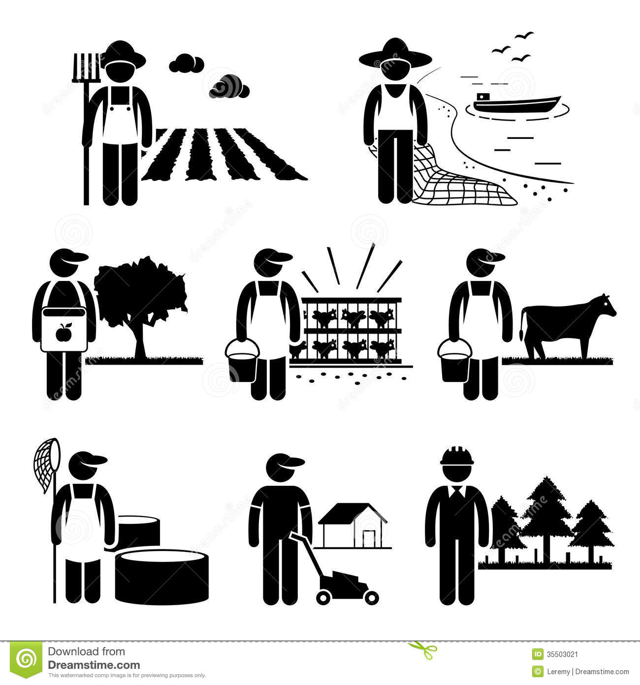 Agriculture Plantation Farming Poultry Fishery Job Stock Image.