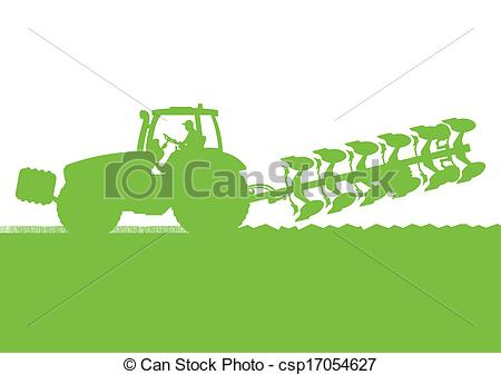 Vector Illustration of Agriculture tractor plowing the land in.