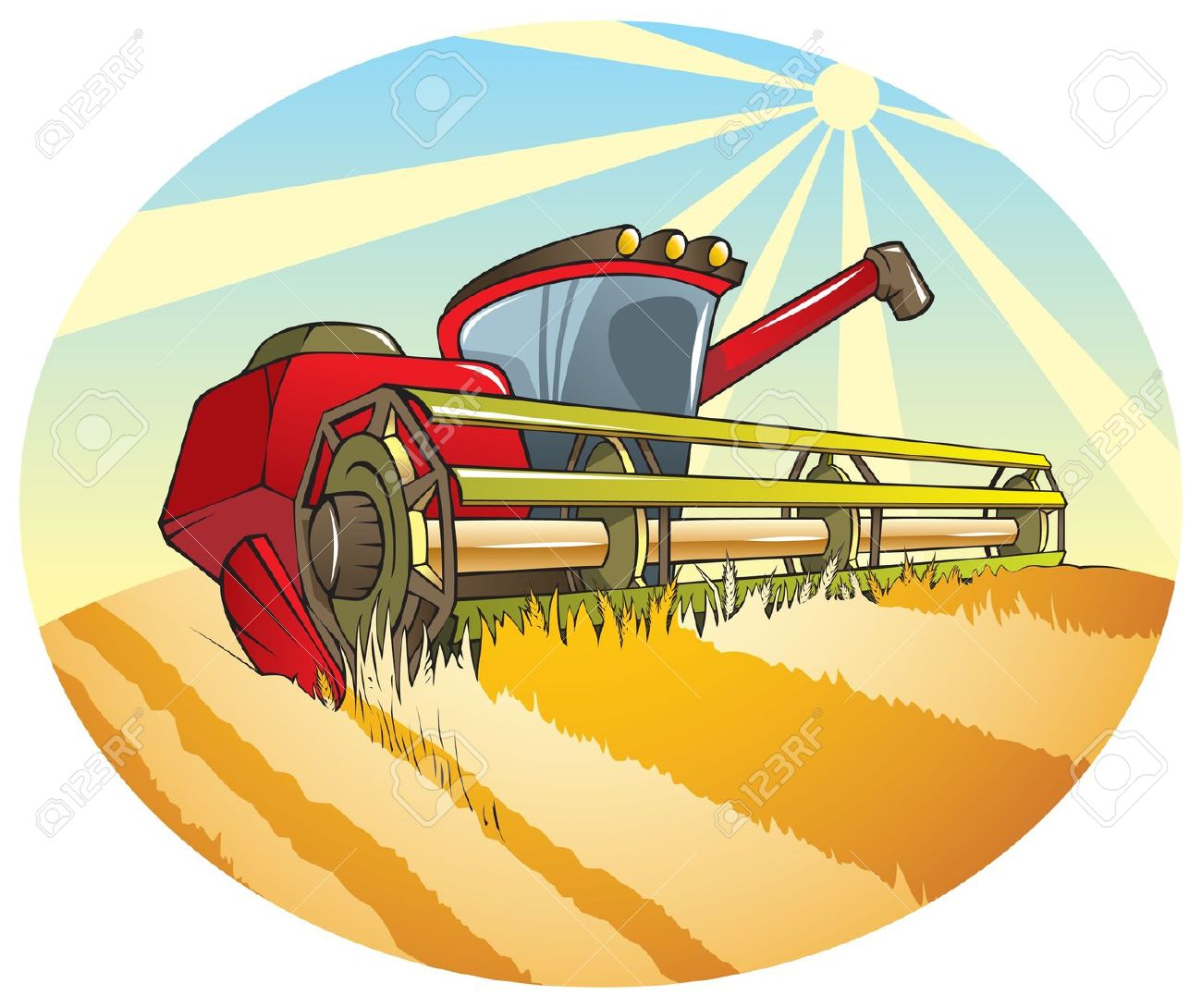 Harvesting Machine (combine) Reaping Wheat Royalty Free Cliparts.