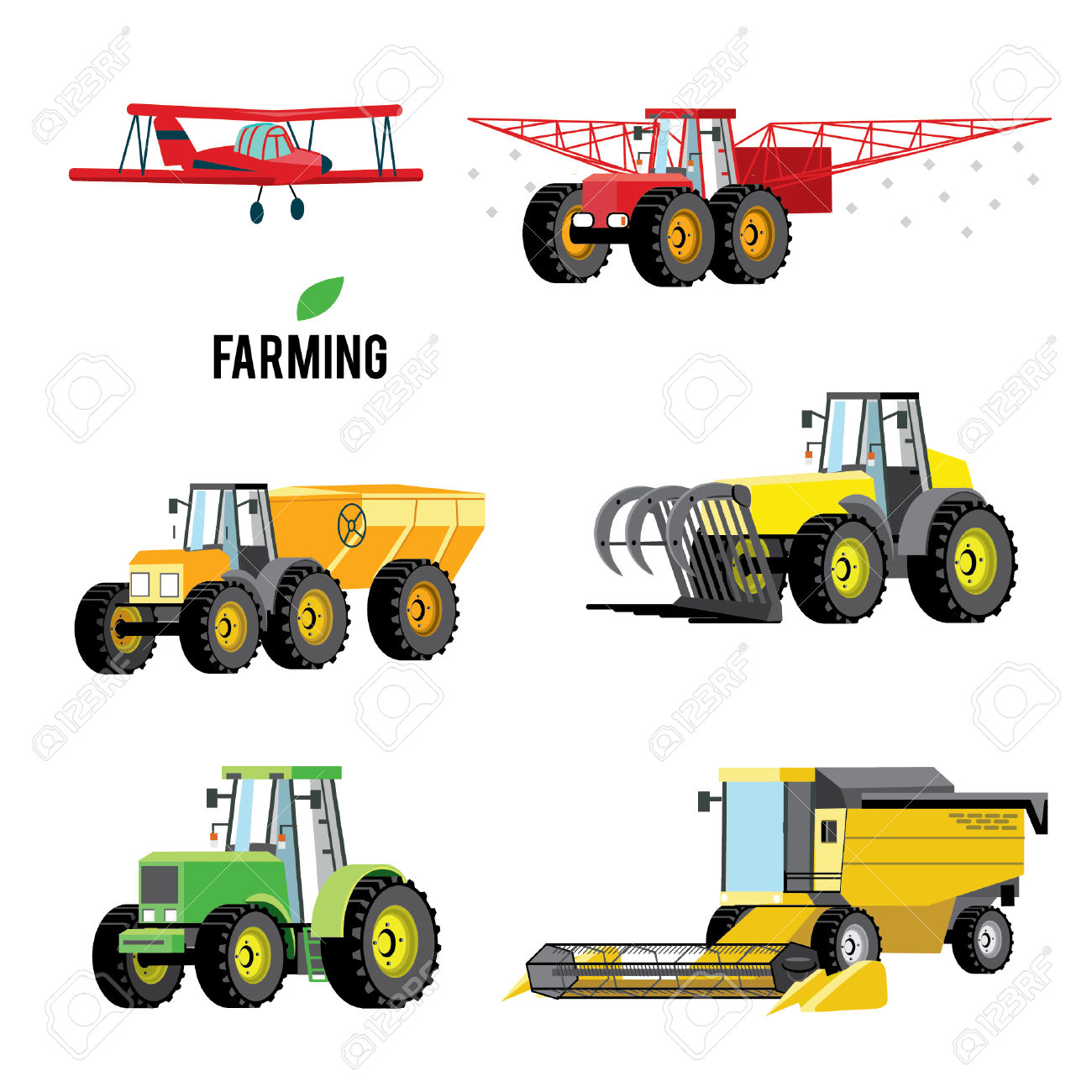 Vector Set Of Agricultural Vehicles And Farm Machines. Tractors.