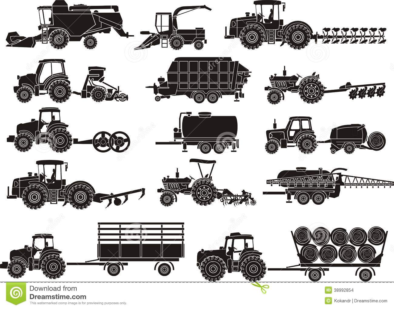 Agriculture Machines Set Stock Photo.