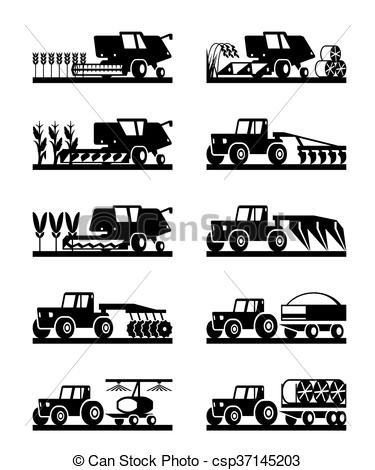 Clipart Vector of Agricultural machinery icon set.