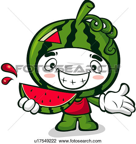 Clipart of watermelon, character, fruits, plant, agricultural.