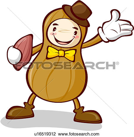 Clipart of peanut, character, nuts, plant, agricultural product.
