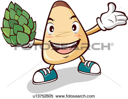 Clipart of pine nuts, character, nuts, plant, agricultural product.