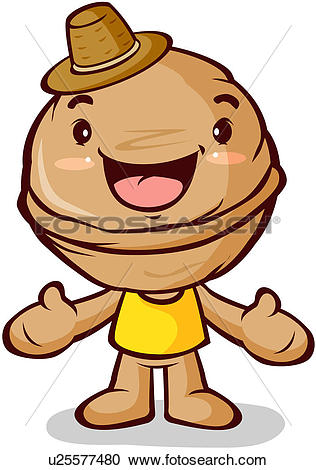 Clipart of walnut, character, nuts, plant, agricultural product.