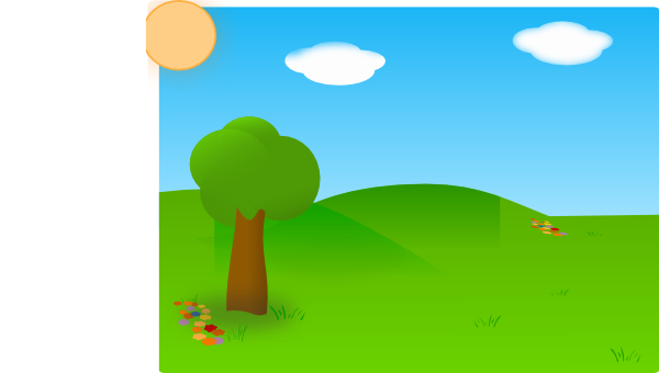 Farm Scene Clip Art Illustration.