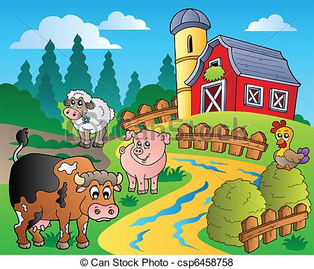 Vector of Country scene with red barn 1.