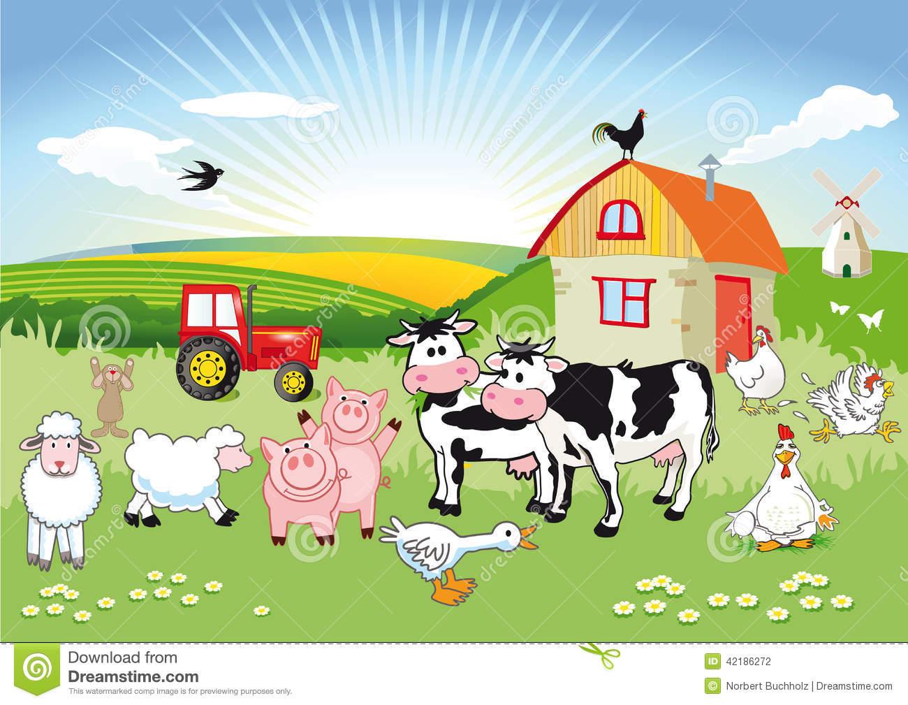 Farm Scene Clip Art Illustration.