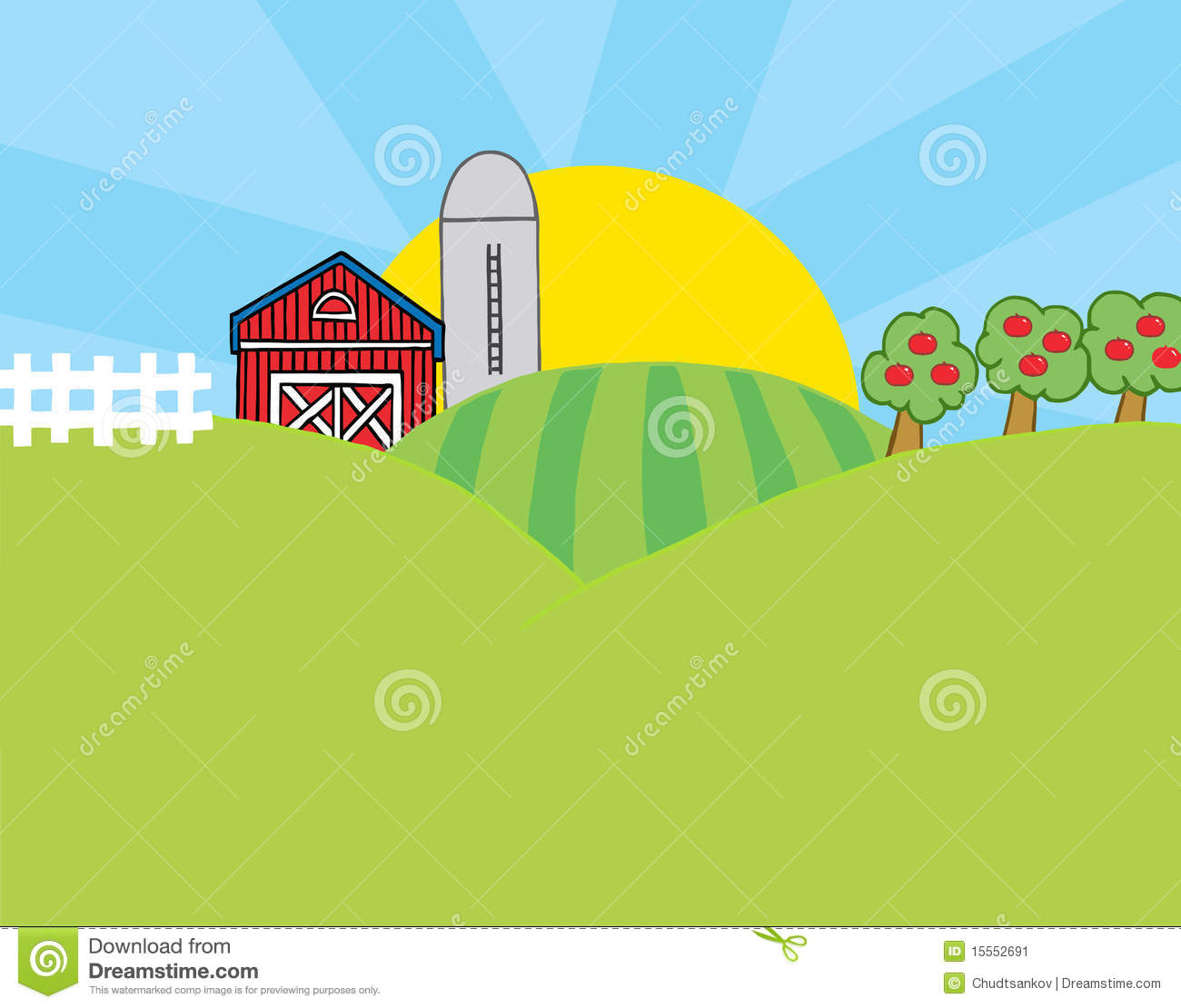 Country Farm Scene Stock Image.