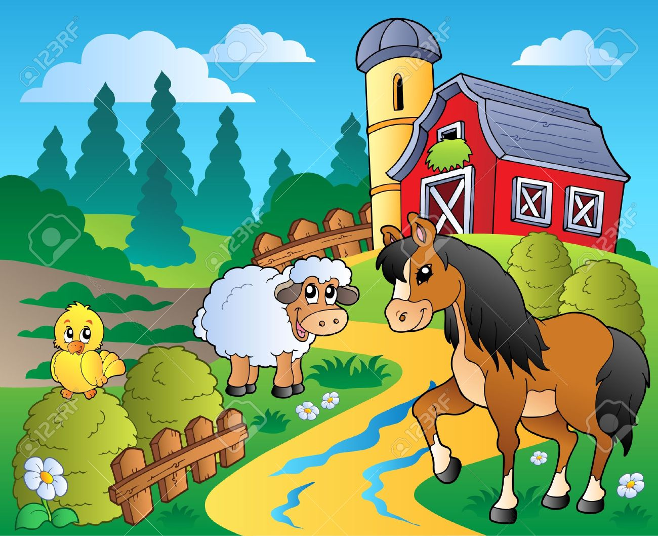 Country Scene With Red Barn 2.