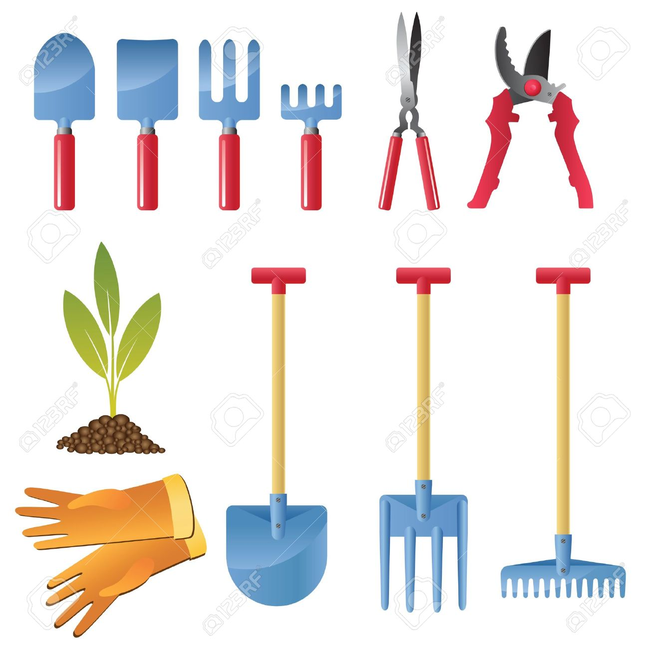 Icon Set Inventory And Tools For Garden Care. Royalty Free.