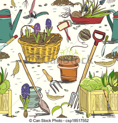 Clipart Vector of Seamless gardening tools pattern background.