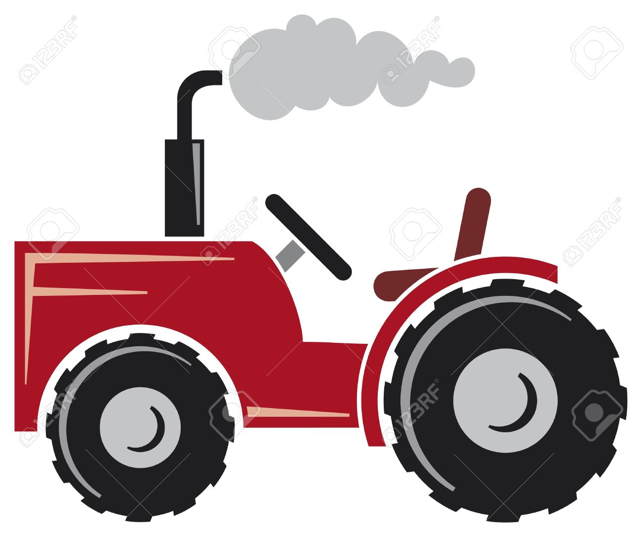 Red Tractor (agricultural Tractor, Tractor Icon) Royalty Free.