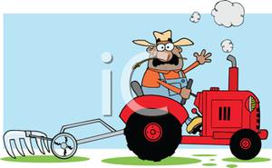 A Colorful Cartoon of an Agriculturalist Cultivating a Field.