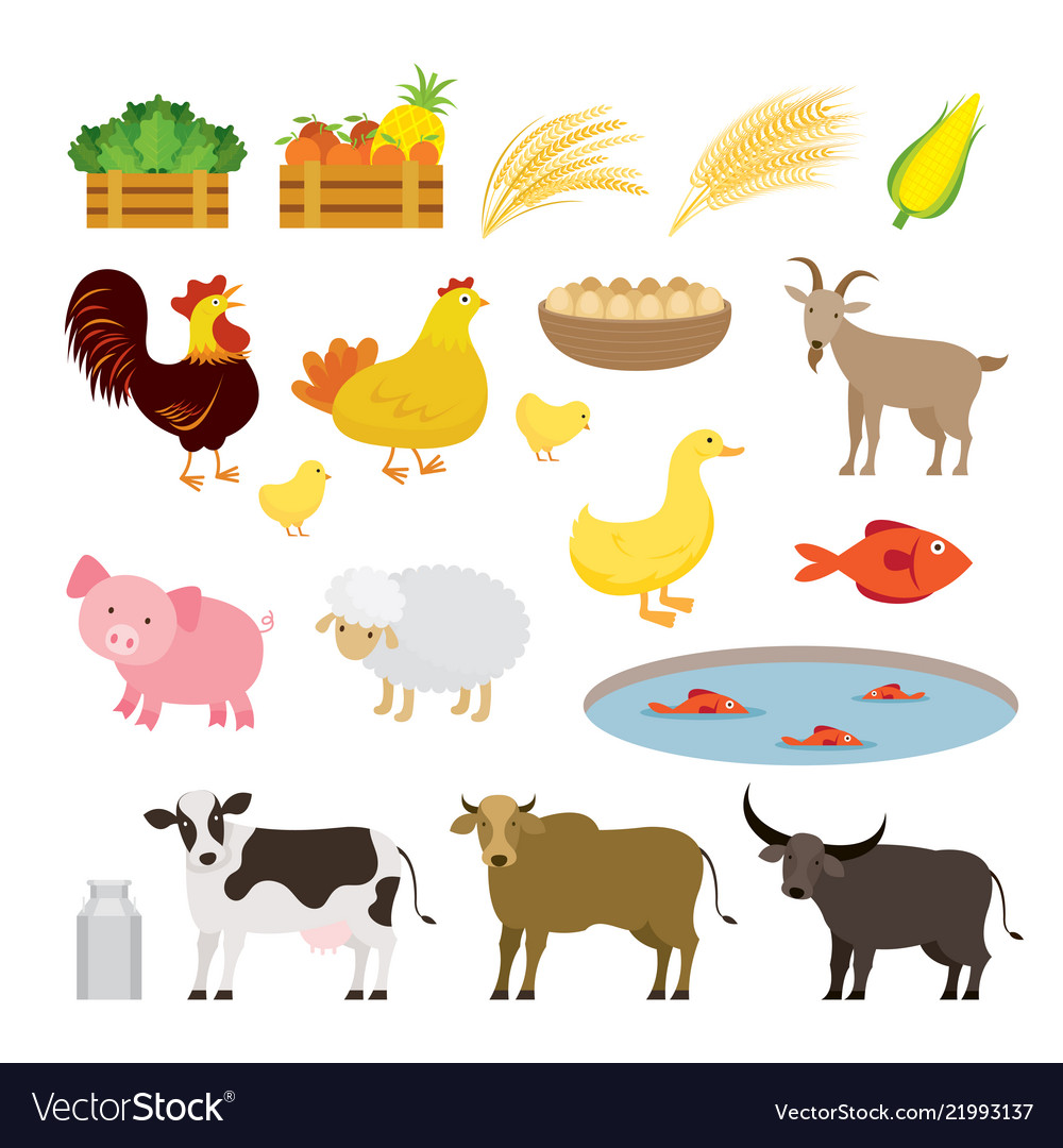 Cute farm animals cartoon set.