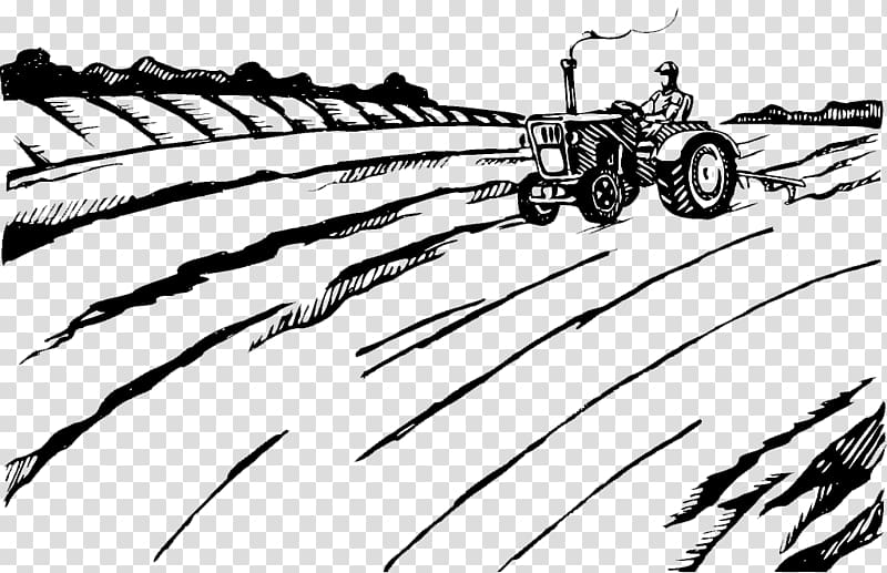 Agriculture Plough Farmer Tractor Illustration, Black and.