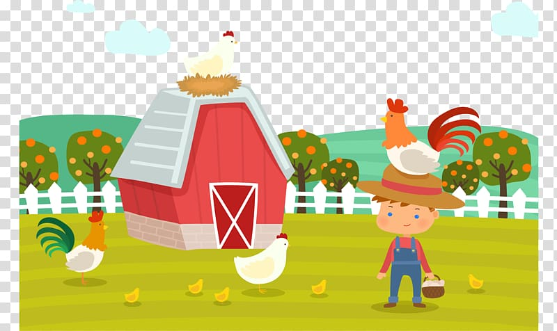 Farm with rooster illustration, Hay Day Chicken, Cartoon.