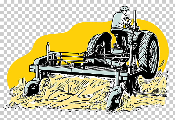 Drawing Agriculture Tractor , Hand drawn land harvesting.