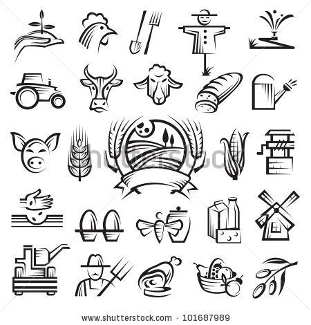 stock vector : agriculture and farming icons.