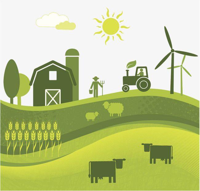 Flat Wind Farm Land Illustration, Farm Clipart, Farmland.
