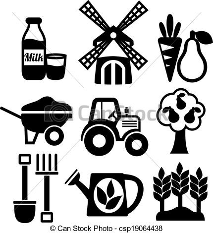 Farming harvesting and agriculture icons set.