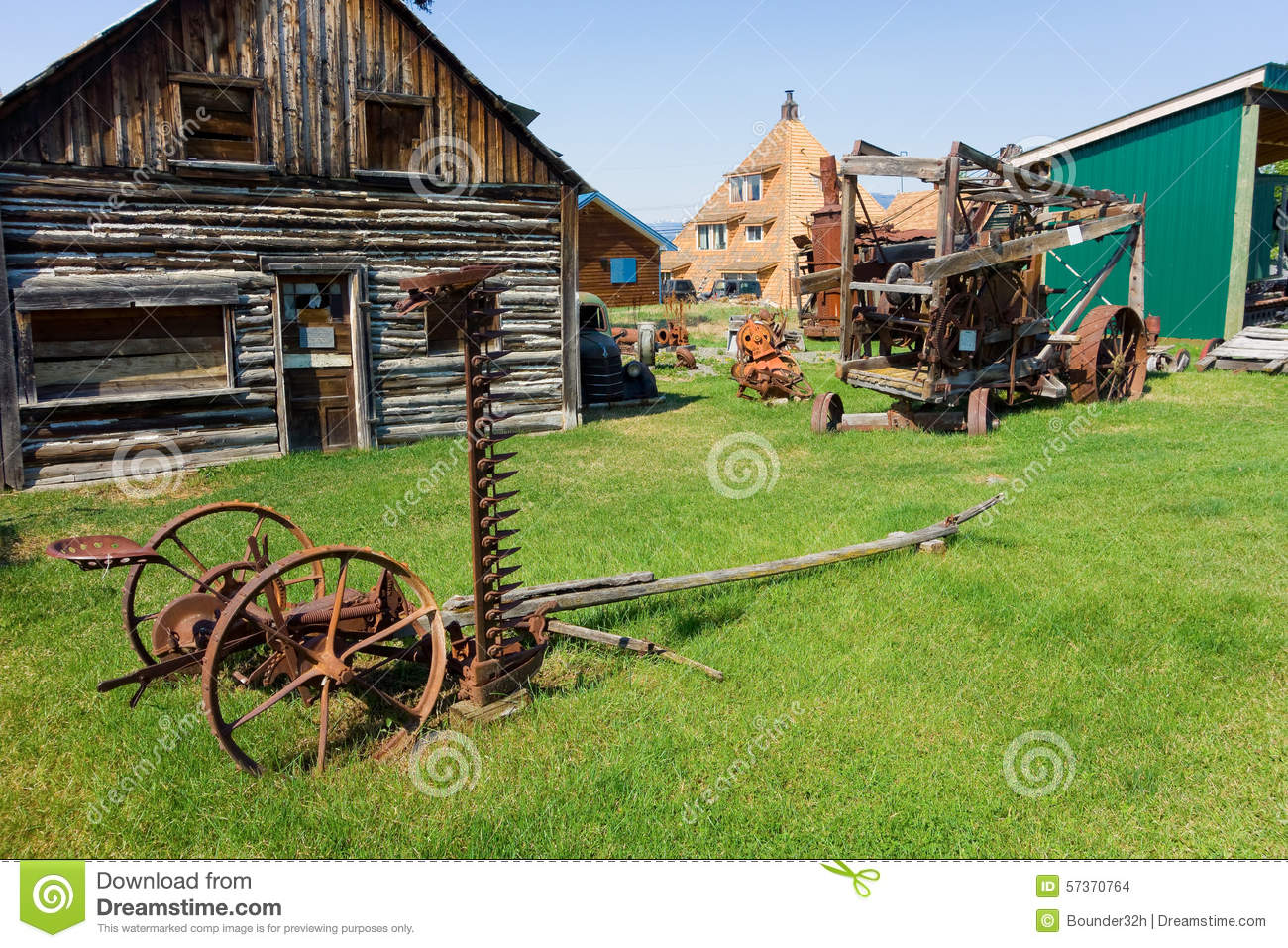 Old Agricultural Tools On Display At An Outdoor Museum In Northern.