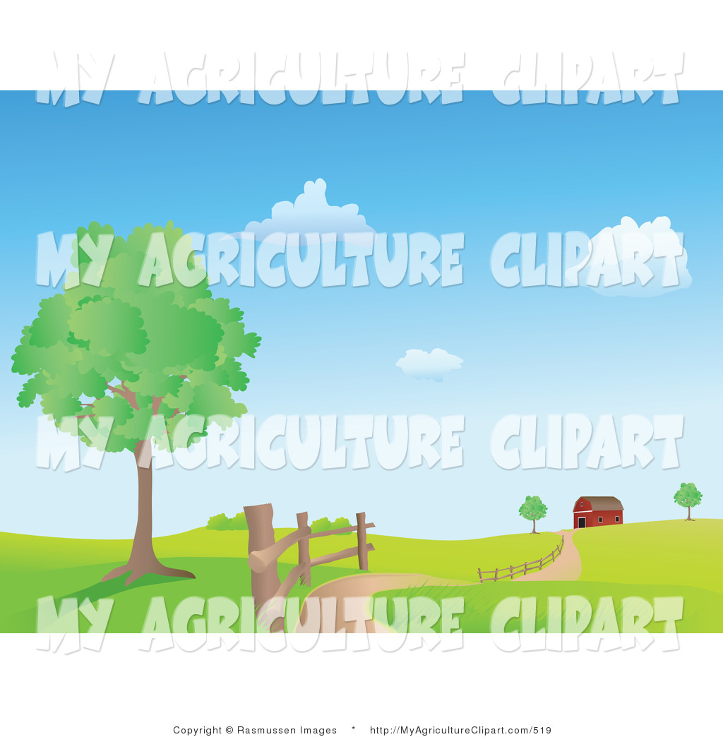 Vector Agriculture Clipart of a Dirt Country Road Winding Along a.