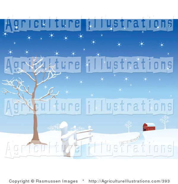 Agriculture Clipart of a Snow Covered Road Curving Along a Fence.