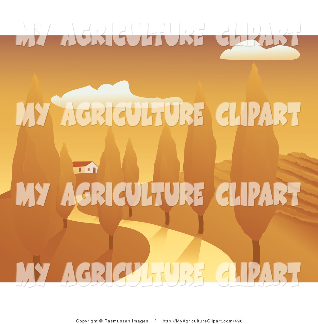 Vector Agriculture Clipart of a Curving Country Driveway or Road.