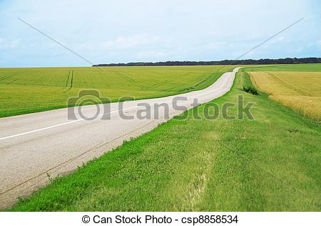Stock Photo of Asphalt road leaving afar and of fields with.