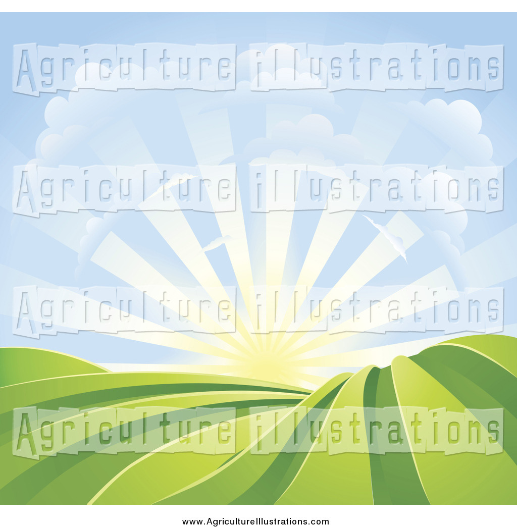 Agriculture Clipart of a Bright Sunrise over Crops by.