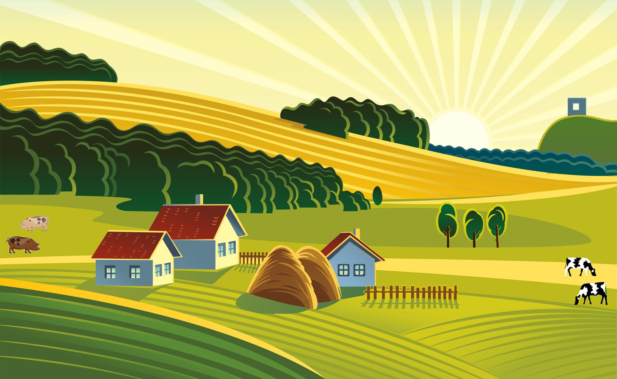 Farm Field Rows Clipart.