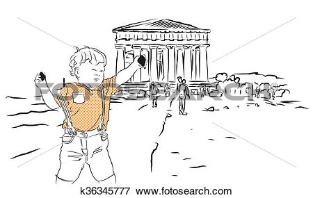 Clip Art of Baby with Rocks and Temple of Concordia. Agrigento.