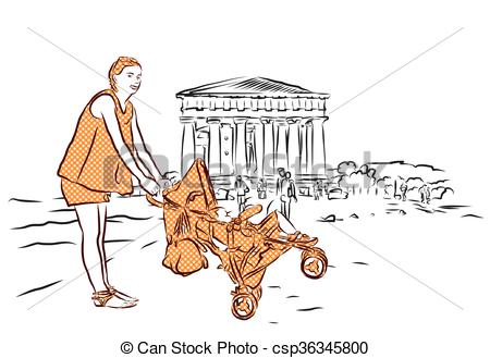 Vector Clipart of Temple with Mother and Baby in Buggy, Agrigento.