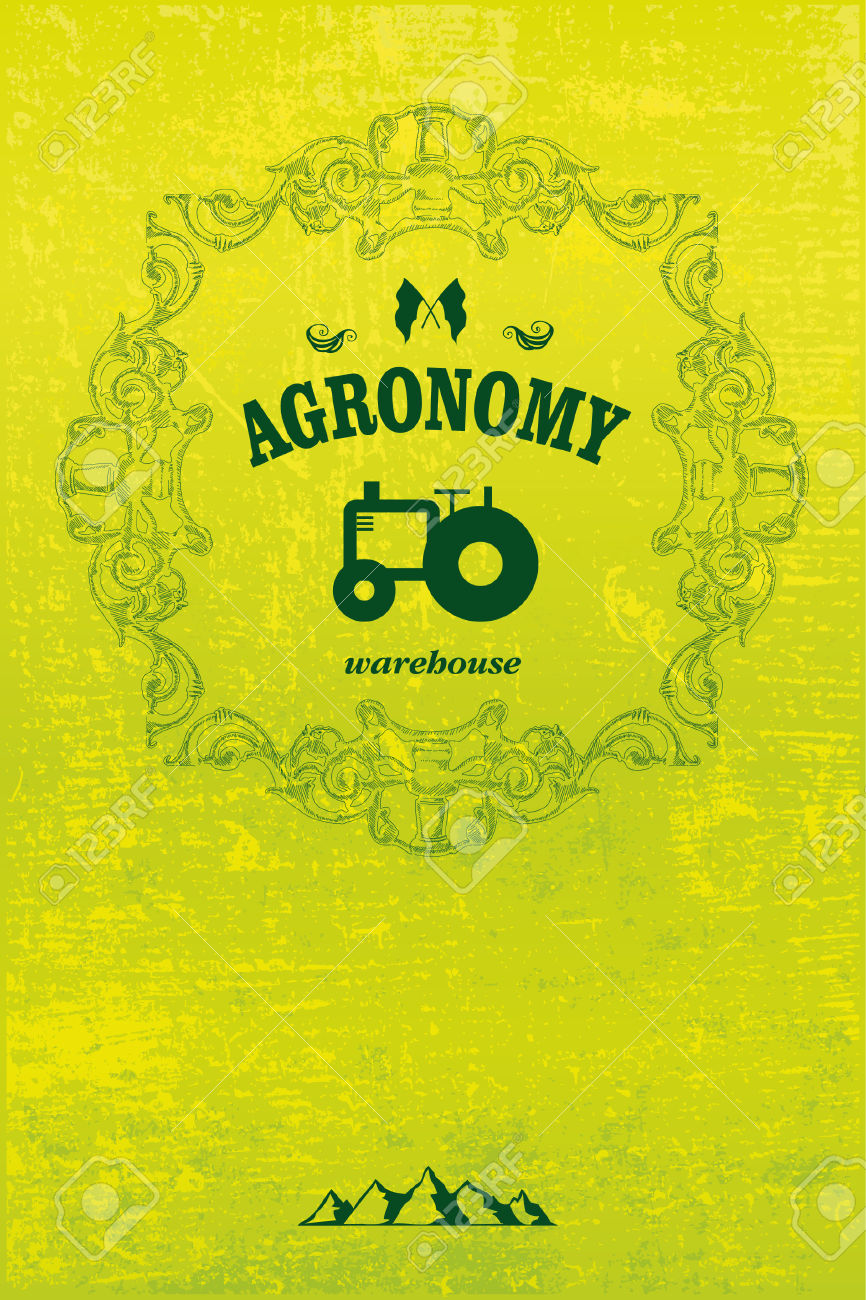 Agronomy Poster With Tractor And Grunge Background Royalty Free.