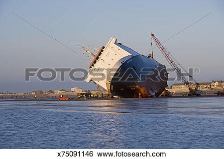Stock Images of Riverdance ferry run aground, Blackpool, England.