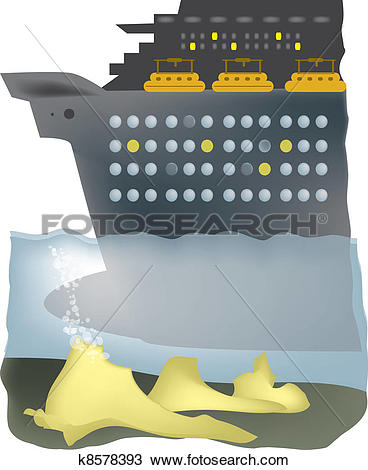 Clipart of Ship runs aground k8578393.
