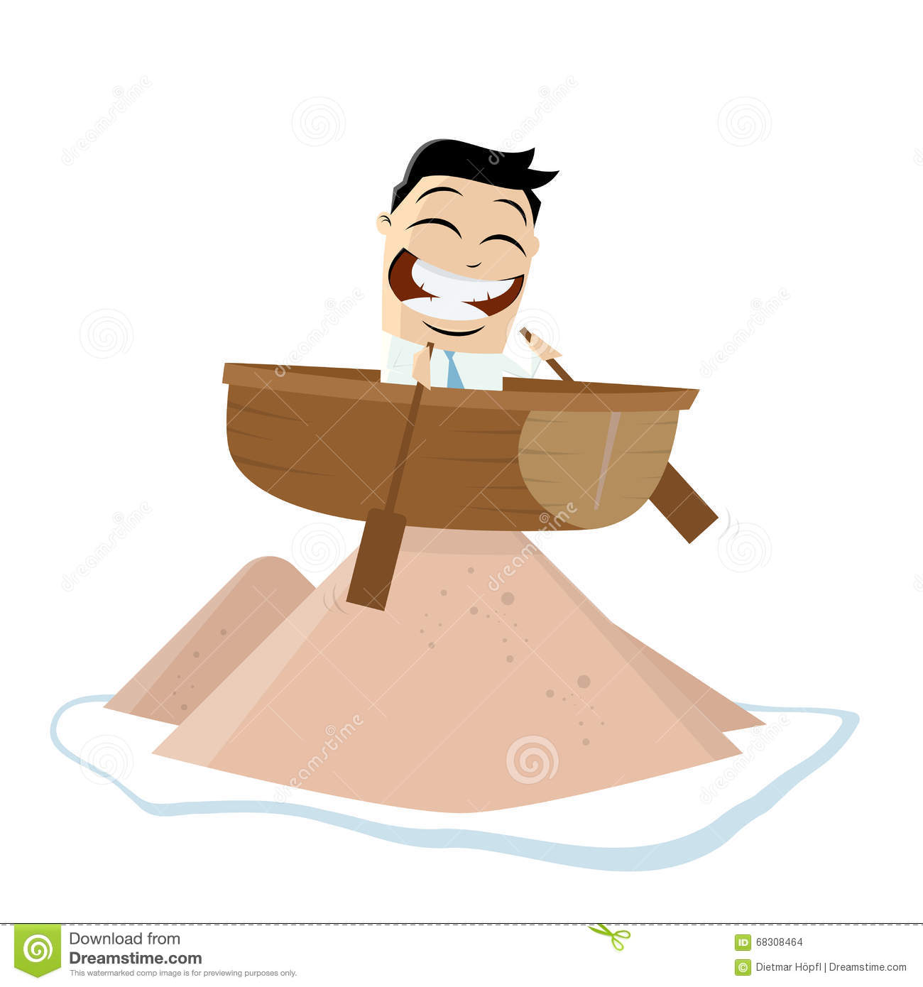 Funny Businessman Is Running Aground Stock Vector.