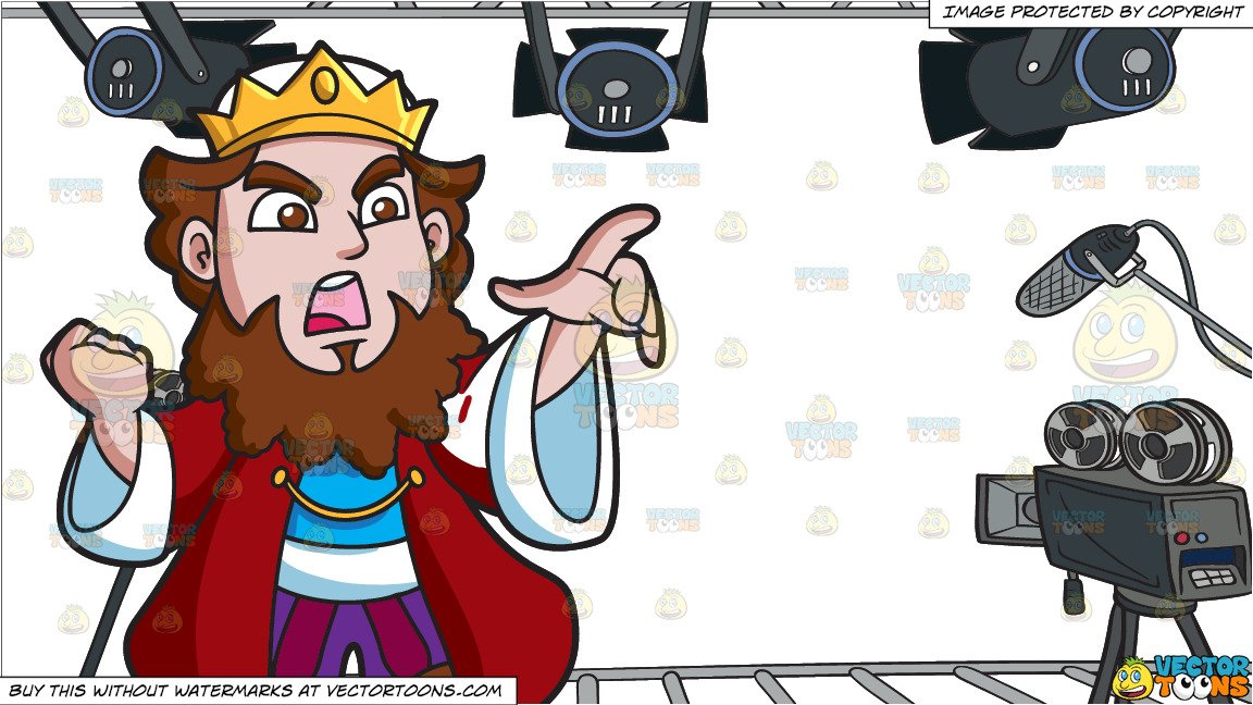 An Angry King and Video Studio Background.