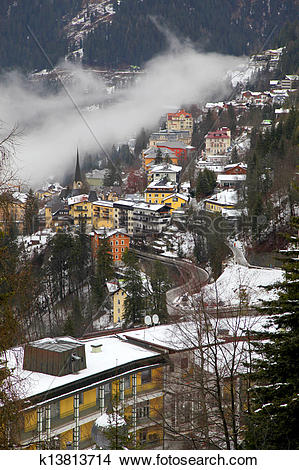 Stock Photo of Houses and fog in Alps mountain resort village Bad.