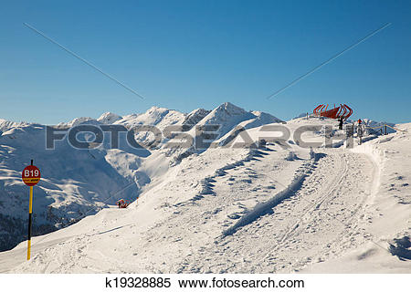 Stock Image of Ski resort Bad Gastein in winter snowy mountains.