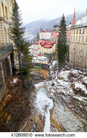 Stock Photography of Bad Gastein in Alps mountains k12609510.