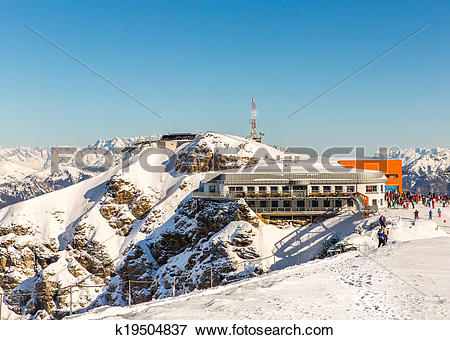 Picture of Hotel in ski resort Bad Gastein in winter snowy.
