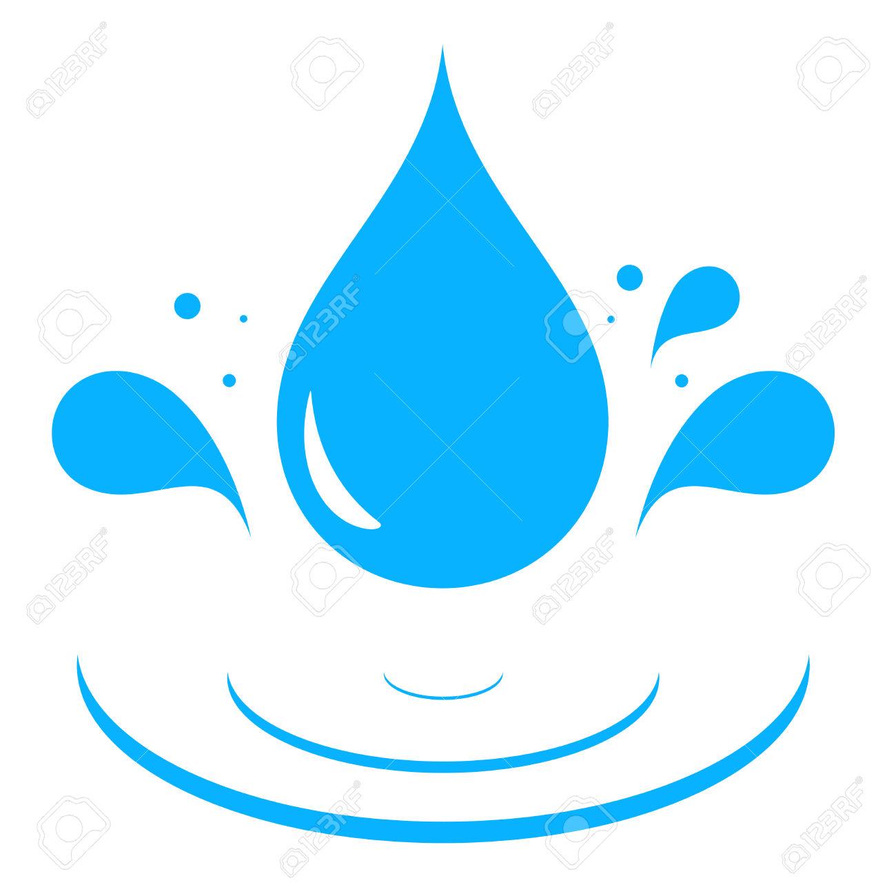 Icono Con Agua Azul Chapoteo De La Gota De La Silueta.