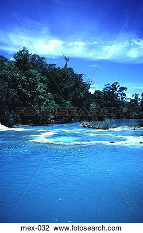 Stock Photo of River Agua Azul Chiapas Mexico mex.